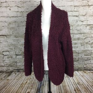 Kenzie burgundy fluffy open front cardigan